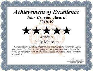 Judy Maassen dog breeder Certificate
