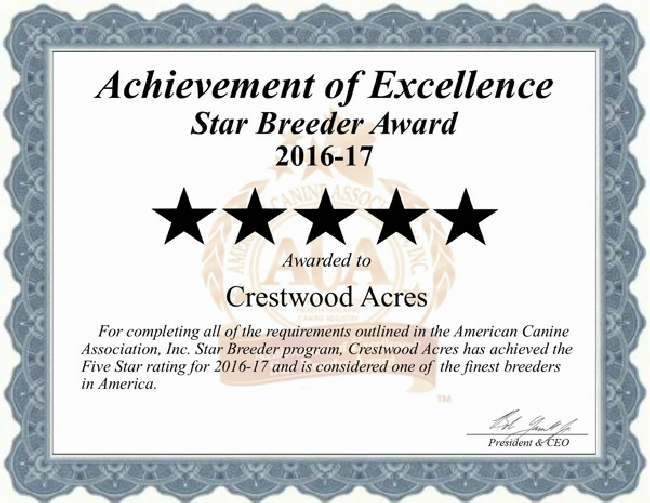 crestwood, acres, kennels, dog, breeder, 2017cert, crestwood acres, kennel, lyons, ny
